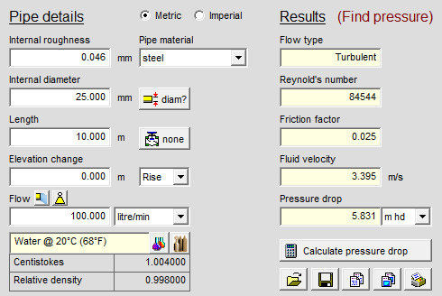 Screenshot of Pipe Flow Wizard Find Pressure Drop Calculator